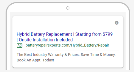 Expanded text ad for search network