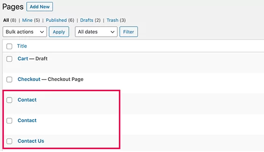 How does WordPress handle deleted pages?