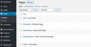 Recover deleted WooCommerce pages